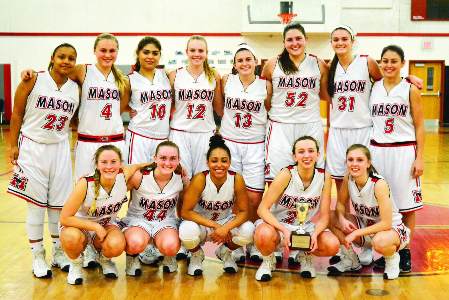 Conference 35 champions, the George Mason Mustangs girls basketball team won its second consecutive conference title Tuesday. (Photo: Carol Sly)