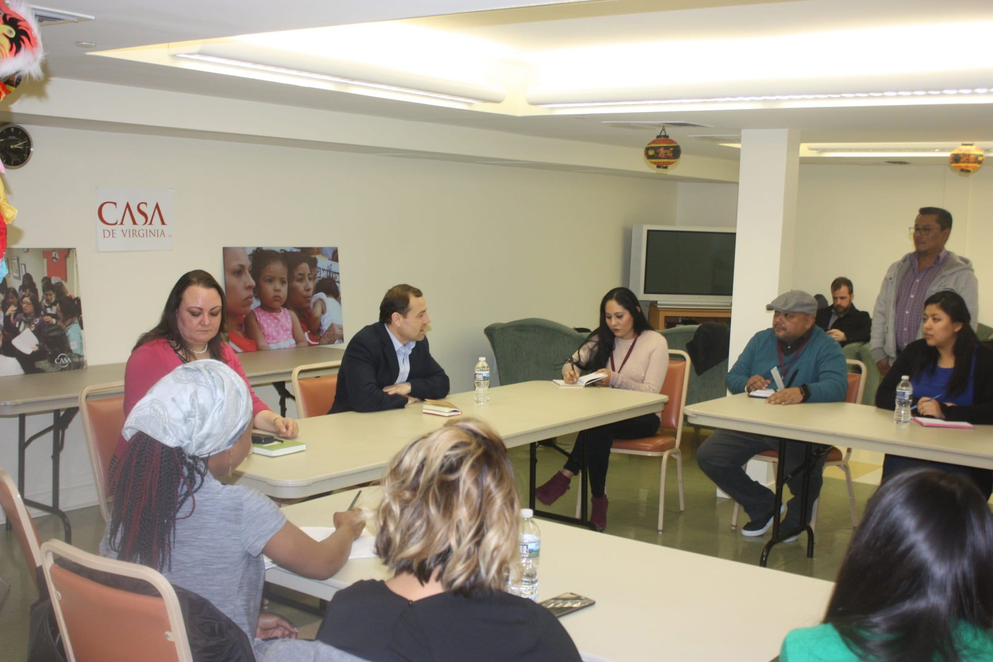FORMER U.S. REP. Tom Perriello (center, in black) exchanged ideas and stories with a group of DREAMers assembled under the auspices of CASA Virginia in Falls Church on Friday (Photo: News-Press)