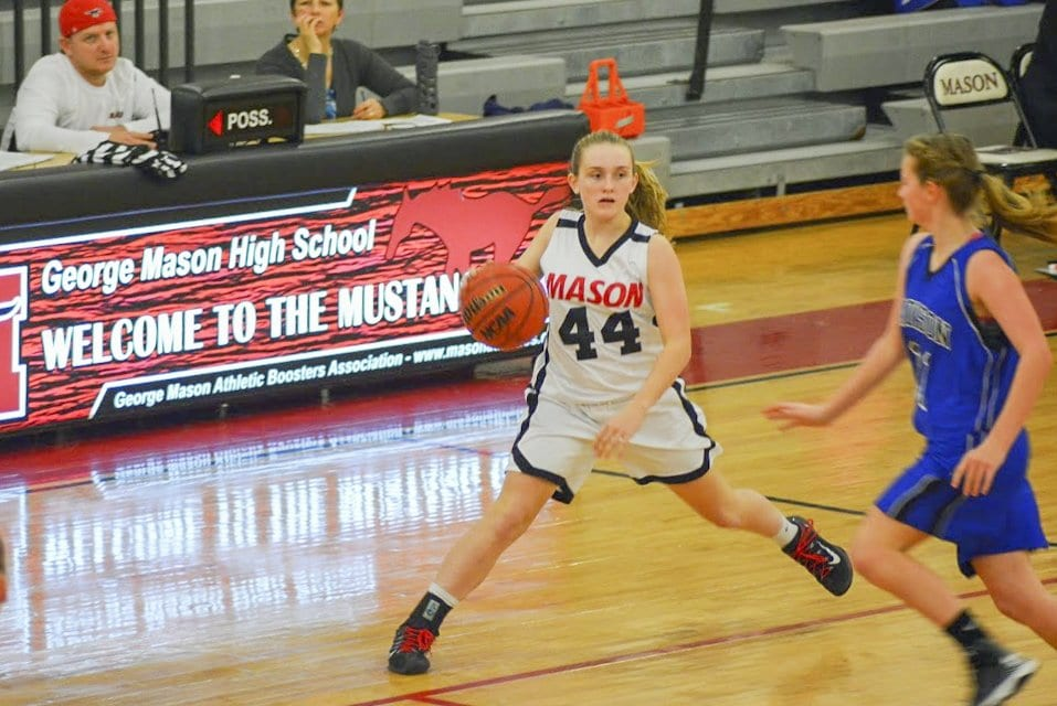 MASON'S MADDY LACROIX handles the ball during a recent game against Madison County High School. The Mustangs recent lost to William Monroe High School. (Photo: Carol Sly)