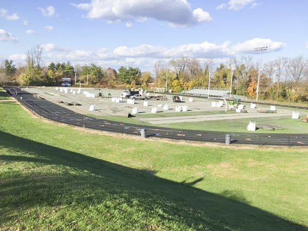 One of several photos taken of the synthetic turf field being replaced at George Mason High School.  Parents at Westgate Elementary School, which is nearby Mason, are concerned over the use of crumb rubber in synthetic turf fields. (Courtesy Photo)