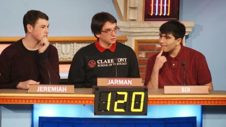"""Mason seniors (l to r) Jeremiah Ogle, Jarman Taylor and Ben Cohen at a taping of """"It's Academic."""" The scholastic bowl team made it to its 15th straight state championships last Saturday. (Photo: Carol Sly)"""