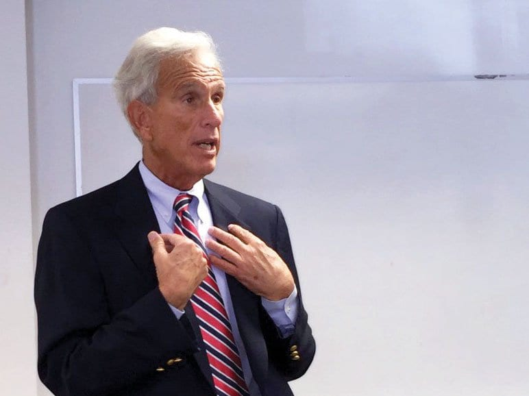 STATE SEN. DICK SASLAW speaks to City of Falls Church residents at a townhall meeting last Saturday. (Photo: News-Press)