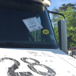 Out-of-Service sticker on a truck deemed to be too unsafe to return to the road