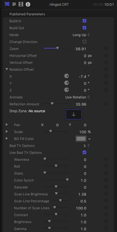 Hinged CRT FCPX Plugin Parameters
