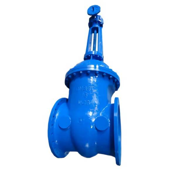 Blue rising stem DN1200 gate valve on white background