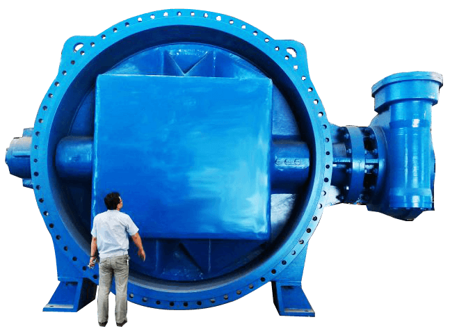 Let's be alone in front of the blue DN4000 butterfly valve