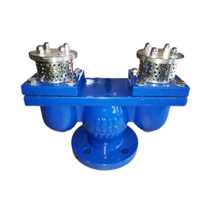 Double port exhaust valve on white background
