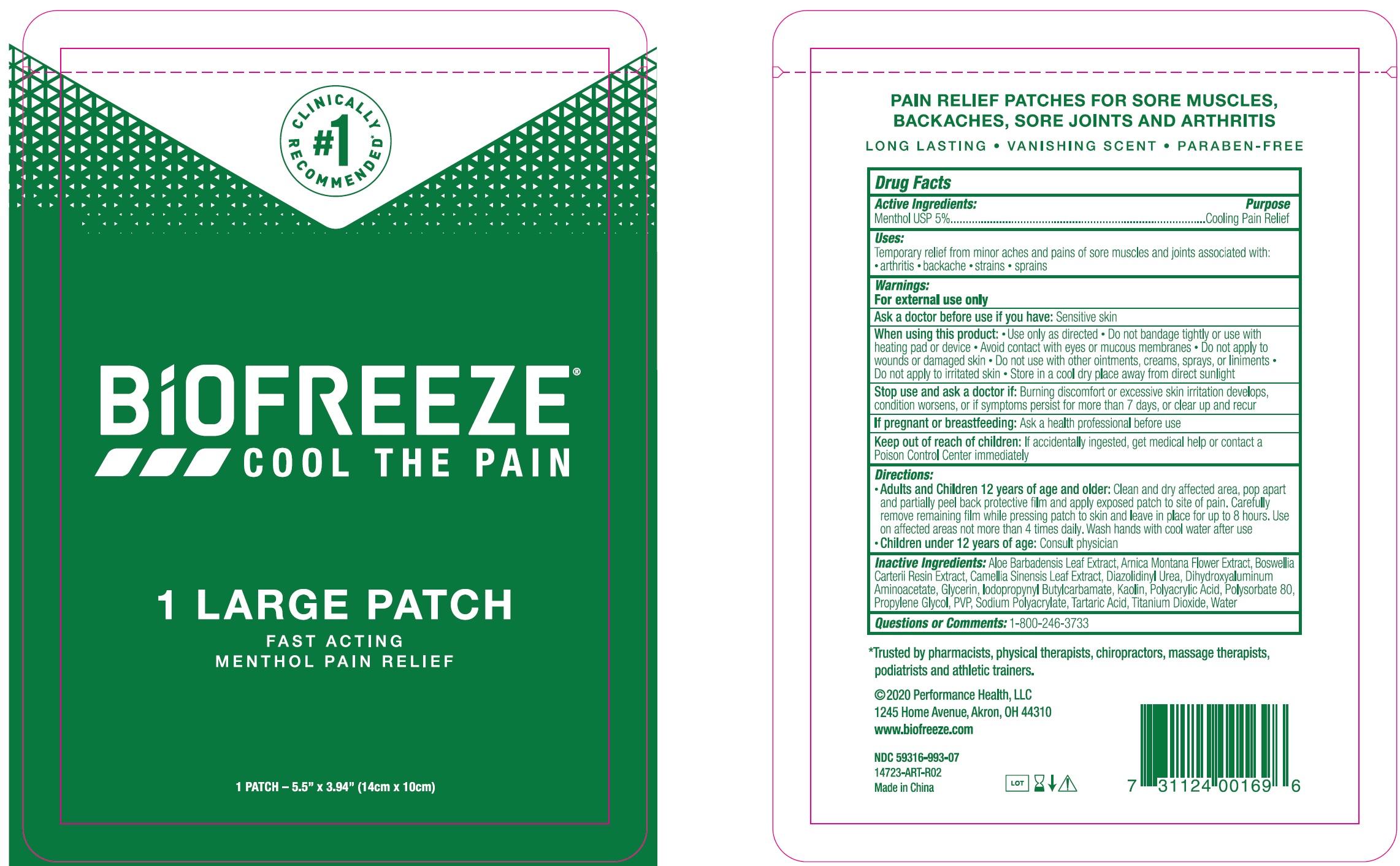 BIOFREEZE- menthol patch