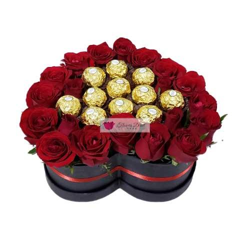 heart box of flowers