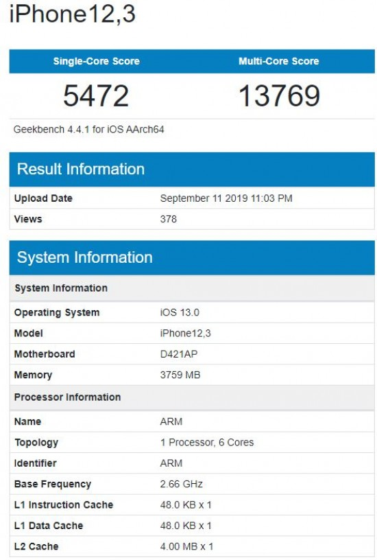 Alleged iPhone 11 Pro shows up on Geekbench with 4GB of RAM