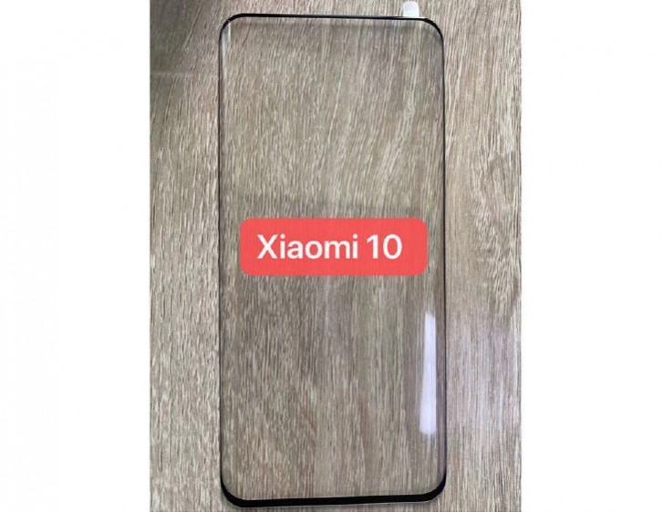 Xiaomi Mi 10 screen protector leaks showing curved glass, no holes