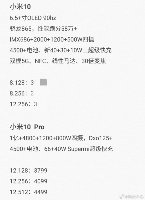 Full Xiaomi Mi 10 and Mi 10 Pro specs and prices leak, to launch together