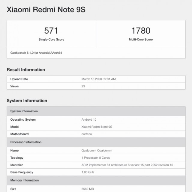Redmi Note 9S Geekbench listing