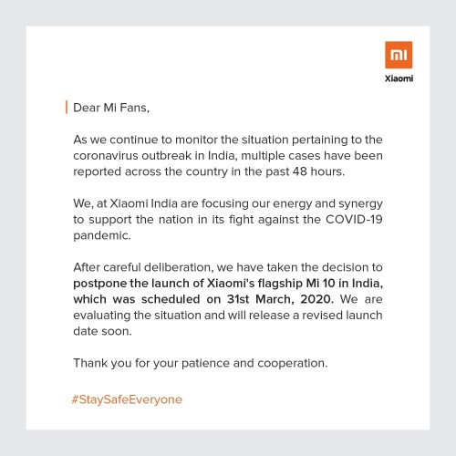 Another casualty: Xiaomi postpones the launch of Mi 10 in India due to COVID-19