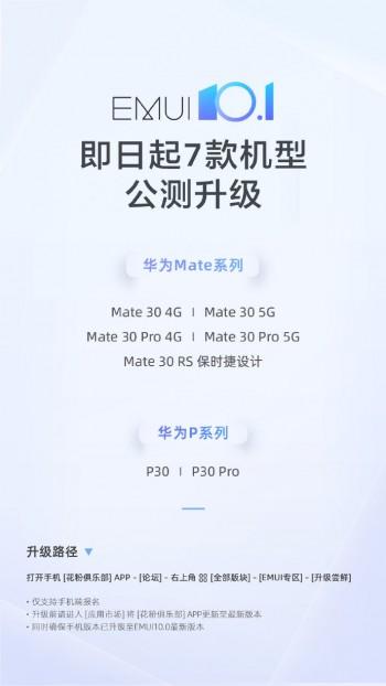 EMUI 10.1 Beta berkembang ke seluruh seri Huawei Mate 30 dan P30 di Cina