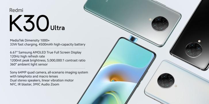 Redmi K30 Ultra trae una frecuencia de actualización de 120Hz y un chipset Dimensity 1000+