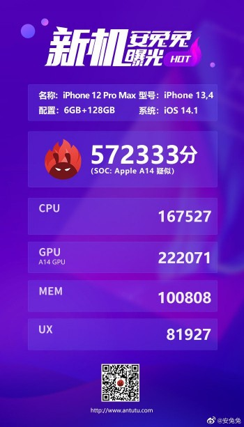 iPhone 12 Pro Max surfaces on AnTuTu with Apple's A14 chip