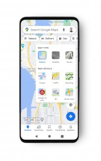 Google Maps interface with COVID-19 Info