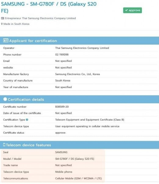 Samsung Galaxy S20 FE Taschen NBTC-Zertifizierung
