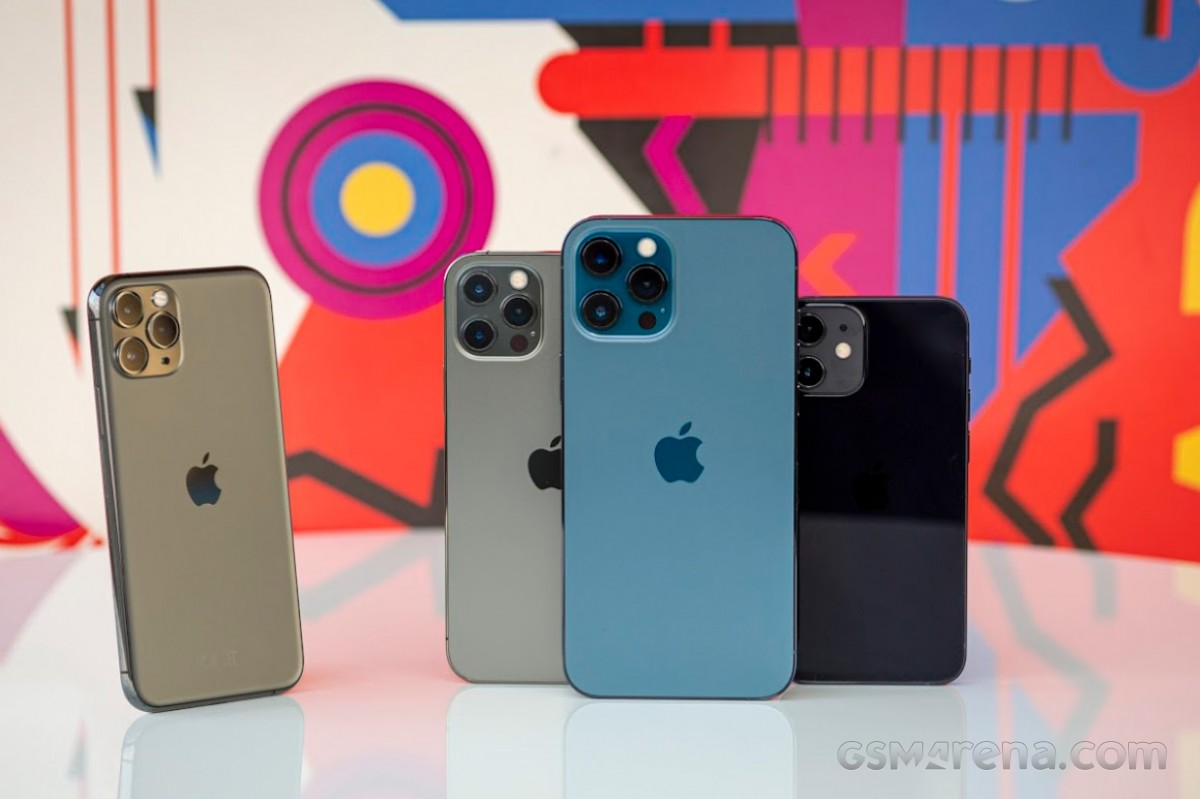 (from left to right) iPhone 11 Pro, iPhone 12 Pro, iPhone 12 Pro Max, and iPhone 12 mini
