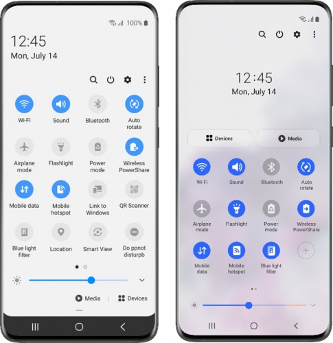 One UI 2.0 on the left, One UI 3.0 on the right
