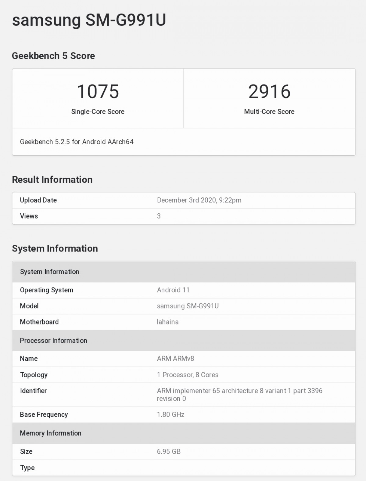 Samsung Galaxy S21 tested on GeekBench with 8GB RAM and Snapdragon 888