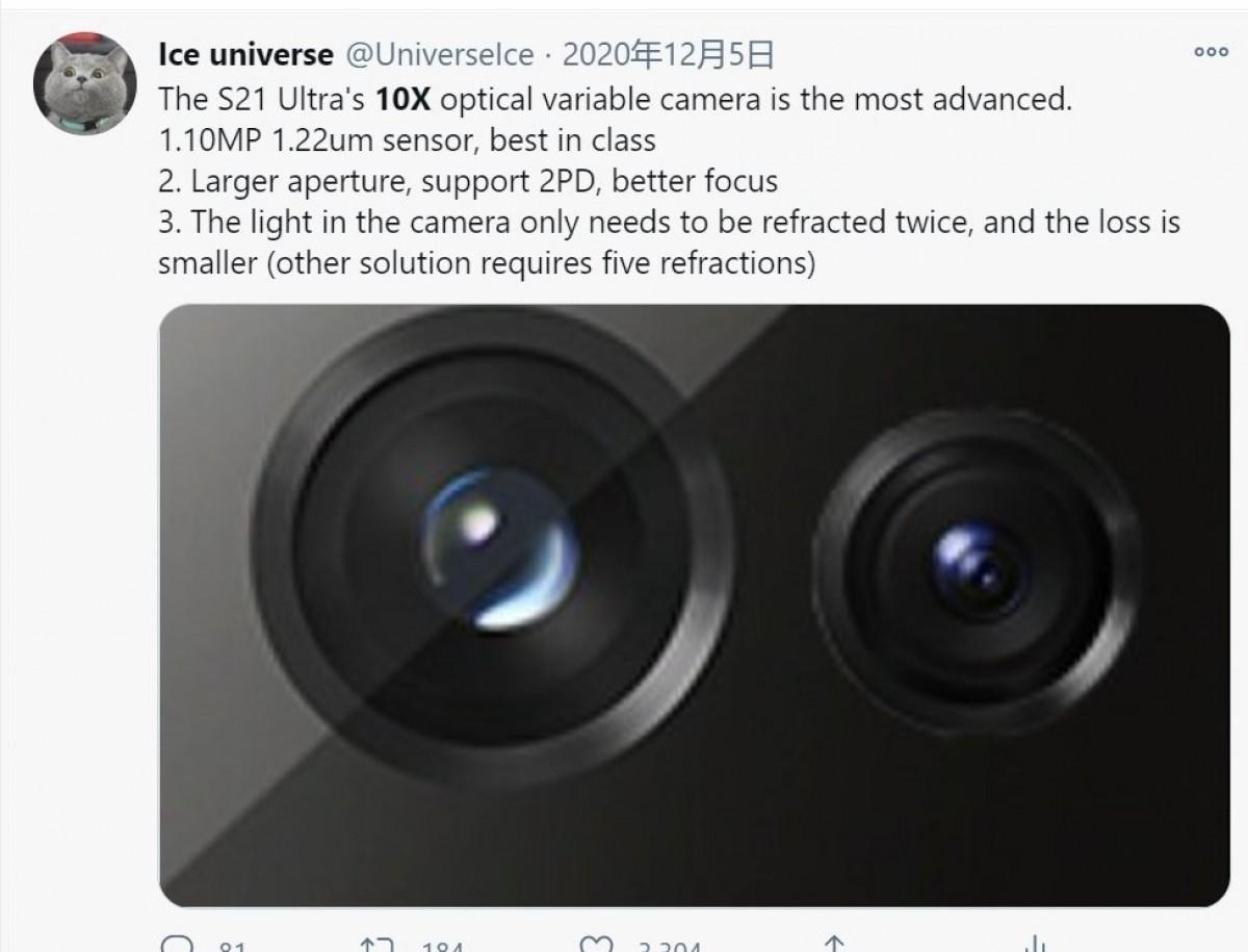 Permukaan detail tambahan kamera Samsung Galaxy S21 Ultra zoom