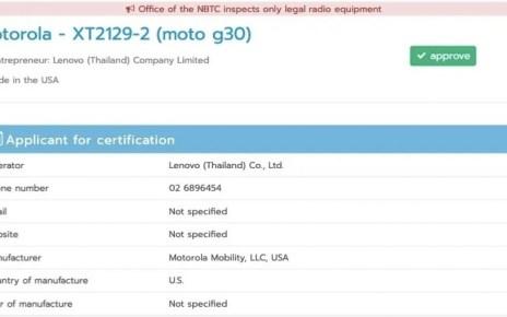 Motorola Moto G30 bags NBTC certification