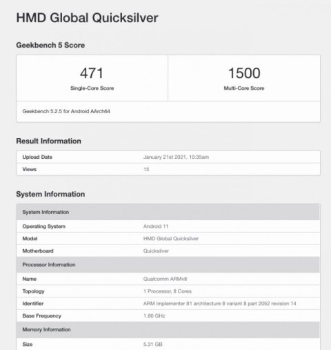 "Nokia phone codenamed ""Quiksilver"" visits Geekbench"