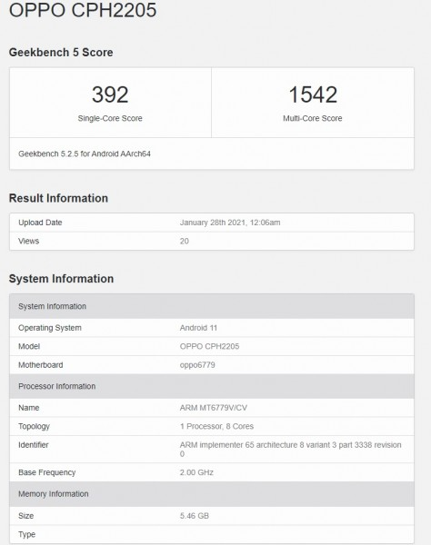 CPH2205 on Geekbench