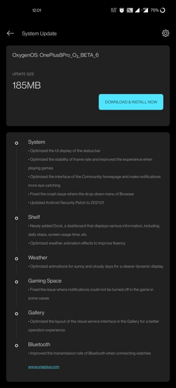 Catatan perubahan OxygenOS Beta 6