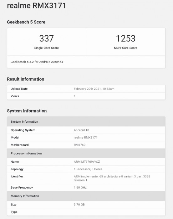 Realme Narzo 30A key specs revealed by Geekbench