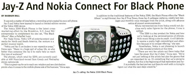 Billboard's article from 2003 about the Nokia's collaboration with Jay-Z