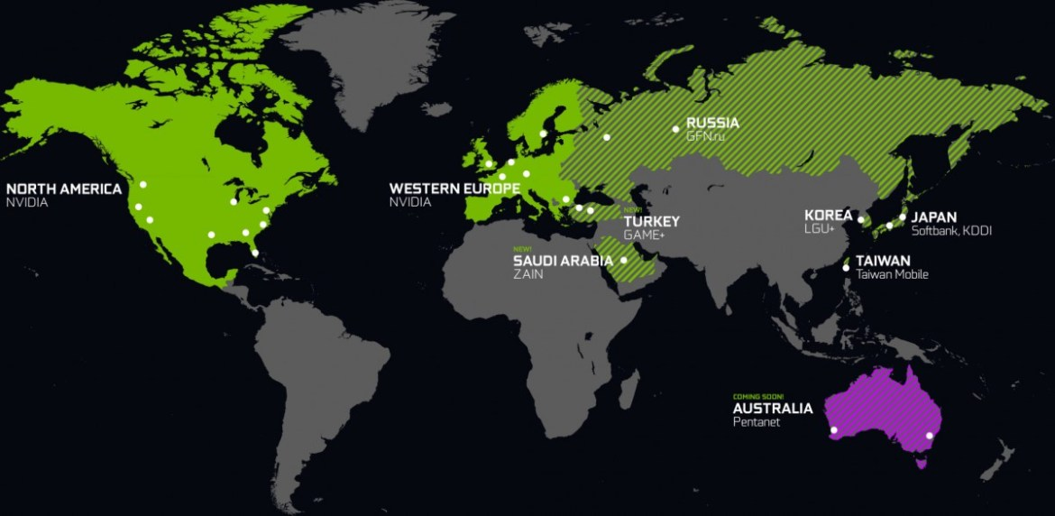 New and upcoming GeForce Now datacenters