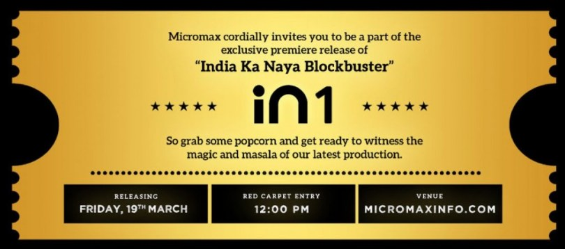Micromax will launch In 1 on March 19, sends theater-themed invites
