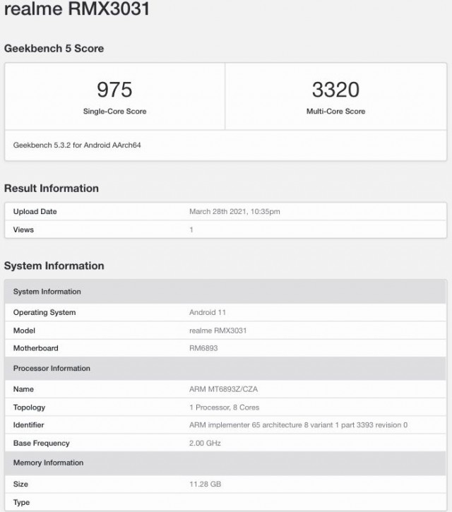 Realme GT Neo on Geekbench