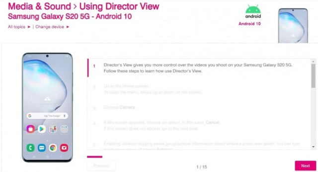 Samsung Galaxy S21's Director's View feature might trickle down to Galaxy S20 5G