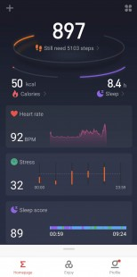 Zepp app and workout data metrics with GPS