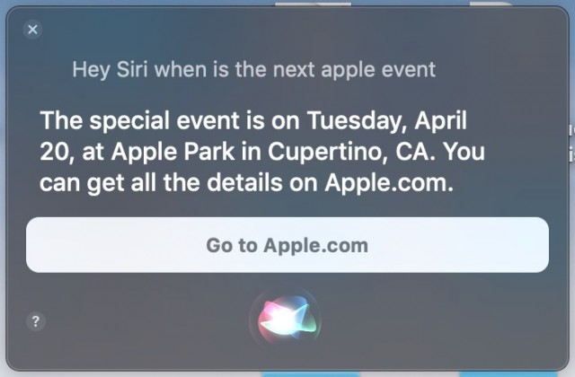Apple event details from Siri