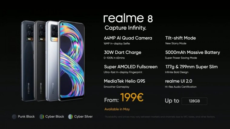 Realme 8 and Realme 8 5G are coming to Europe in May, both priced at €200
