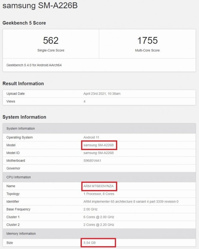Samsung Galaxy A22 5G listing on Geekbench