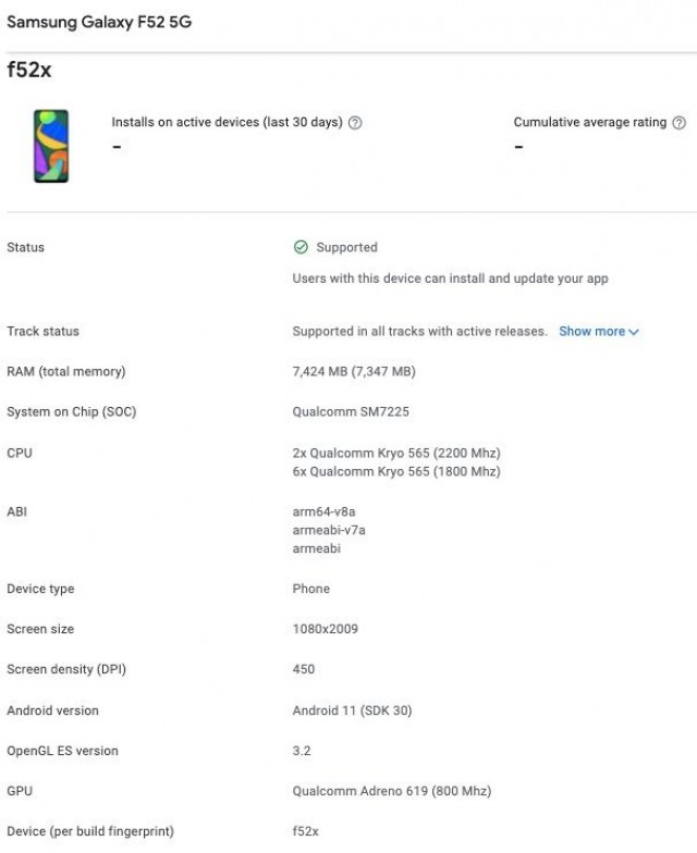 Samsung Galaxy F52 5G Google Play Console listing