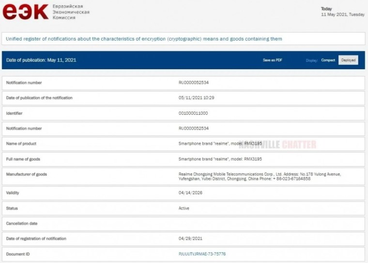 Realme C25s moves a step closer to launch as it gets EEC certified