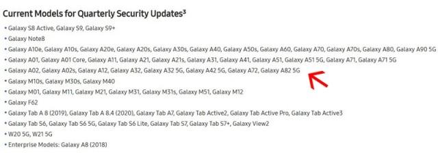 Samsung models eligible for updates