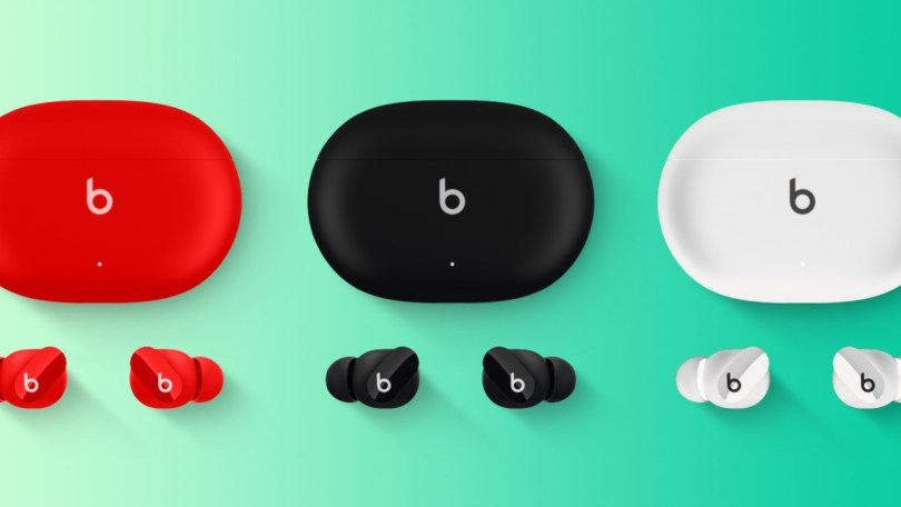 Leaked image of Beats Studio Buds in red, black, and white