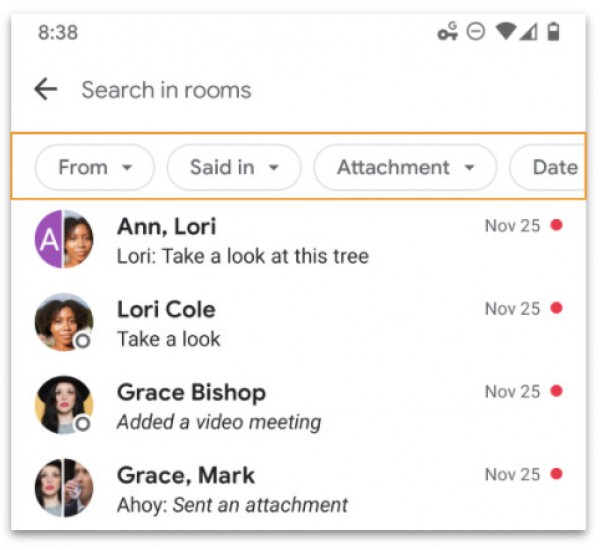 Google Chat mendapatkan fungsi pencarian lanjutan