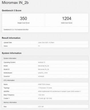 Skor Geekbench 5: Micromax Dalam 2b