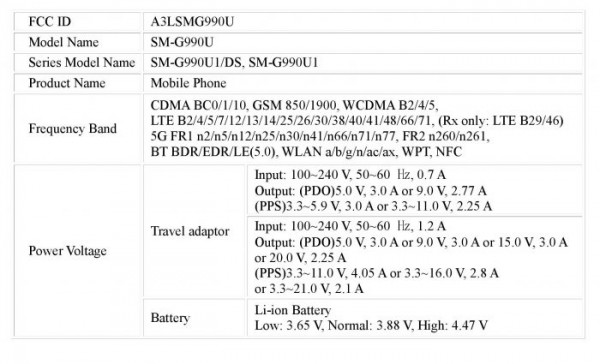 Samsung Galaxy S21 FE certified by FCC with 45W fast charging