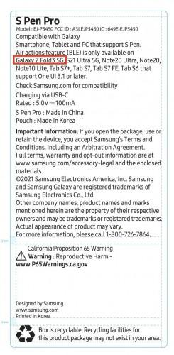 S Pen Pro FCC listing