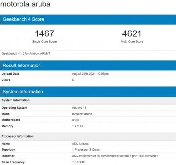 Moto E20 di Geekbench 4